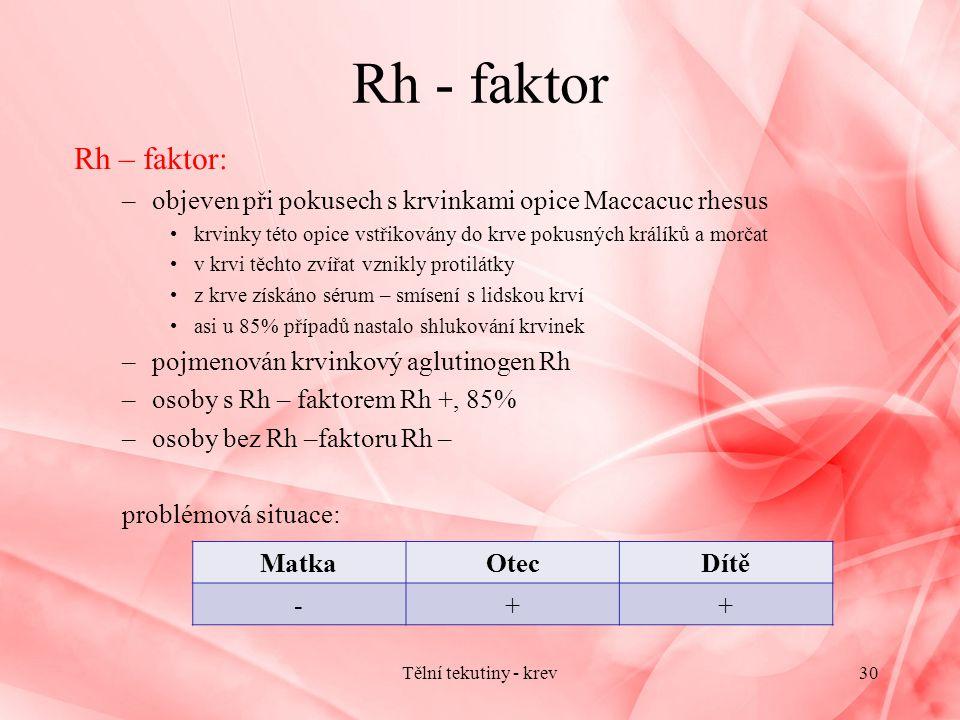 Rh - faktor Rh – faktor: objeven při pokusech s krvinkami opice Maccacuc rhesus. krvinky této opice vstřikovány do krve pokusných králíků a morčat.