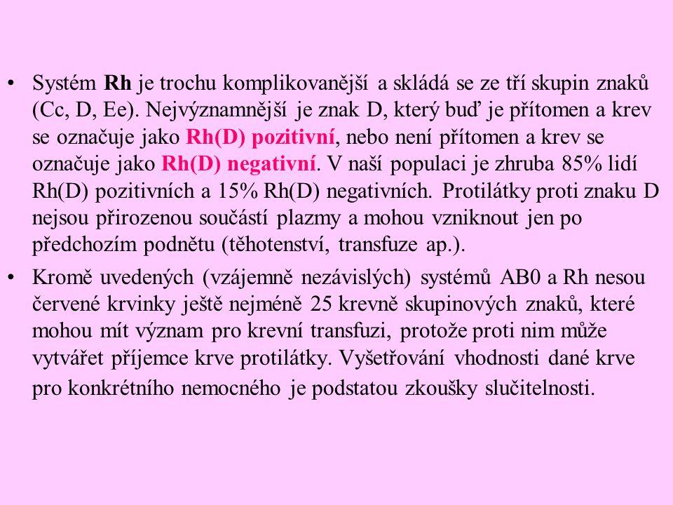 Systém Rh je trochu komplikovanější a skládá se ze tří skupin znaků (Cc, D, Ee). Nejvýznamnější je znak D, který buď je přítomen a krev se označuje jako Rh(D) pozitivní, nebo není přítomen a krev se označuje jako Rh(D) negativní. V naší populaci je zhruba 85% lidí Rh(D) pozitivních a 15% Rh(D) negativních. Protilátky proti znaku D nejsou přirozenou součástí plazmy a mohou vzniknout jen po předchozím podnětu (těhotenství, transfuze ap.).