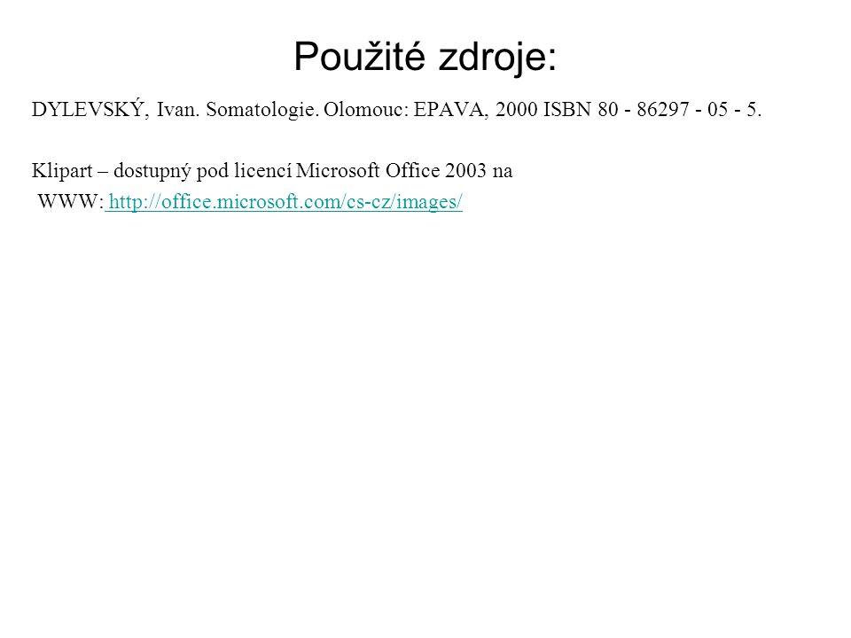 Použité zdroje: DYLEVSKÝ, Ivan. Somatologie. Olomouc: EPAVA, 2000 ISBN 80 - 86297 - 05 - 5. Klipart – dostupný pod licencí Microsoft Office 2003 na.