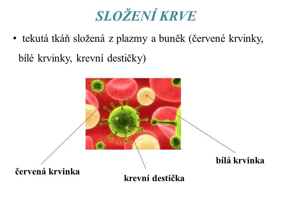 SLOŽENÍ KRVE tekutá tkáň složená z plazmy a buněk (červené krvinky,