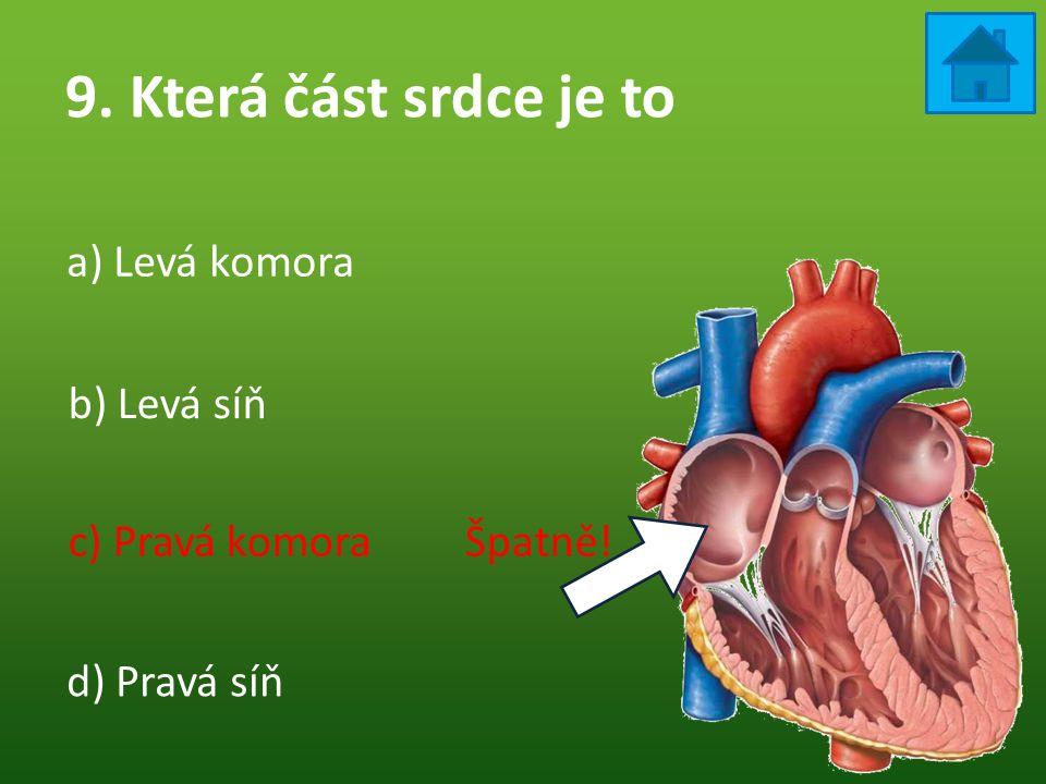 9. Která část srdce je to a) Levá komora b) Levá síň
