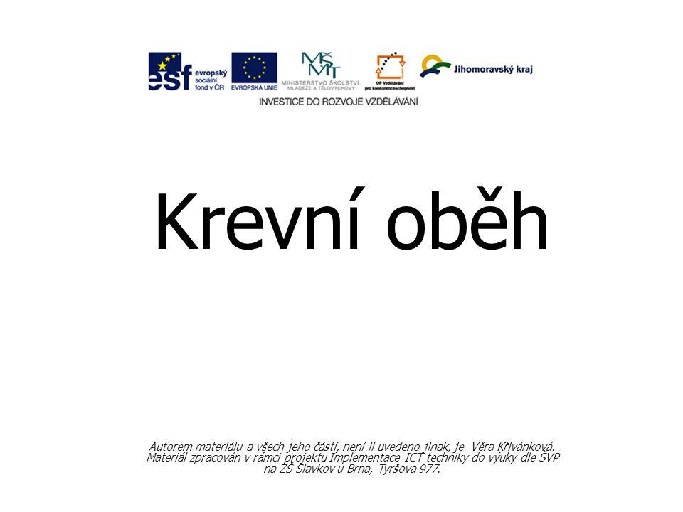 Krevní oběh Autorem materiálu a všech jeho částí, není-li uvedeno jinak, je Věra Křivánková.
