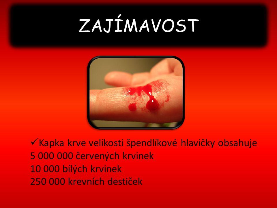 ZAJÍMAVOST Kapka krve velikosti špendlíkové hlavičky obsahuje