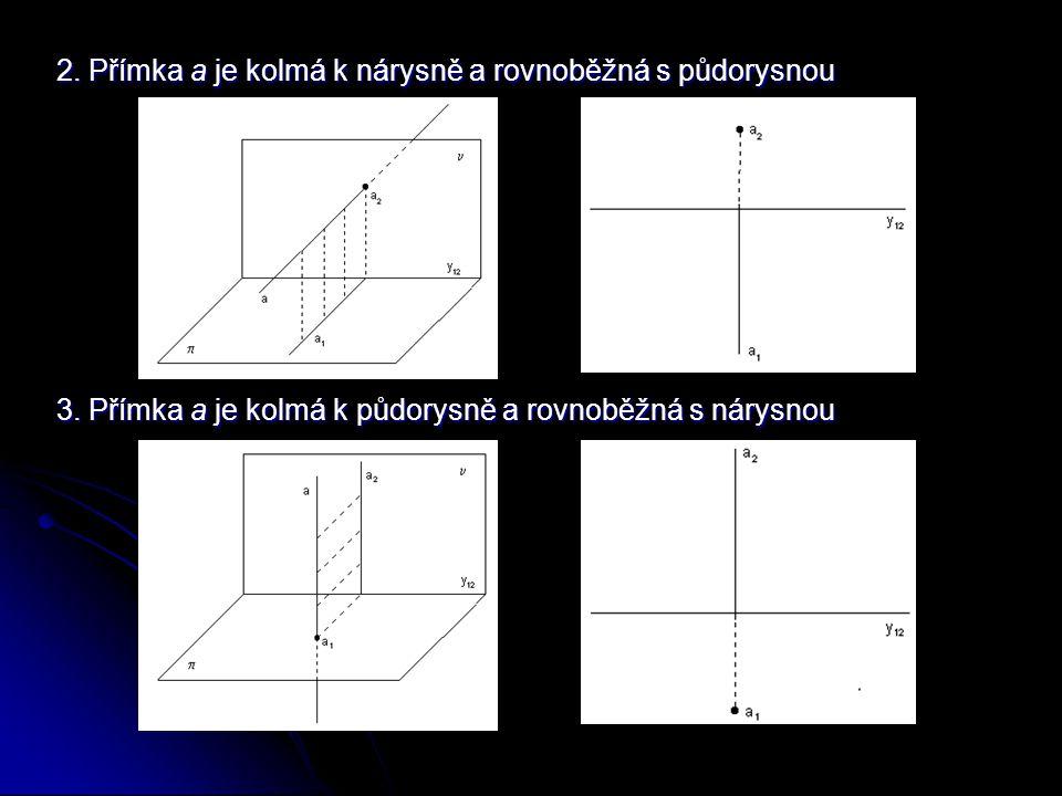 2. Přímka a je kolmá k nárysně a rovnoběžná s půdorysnou