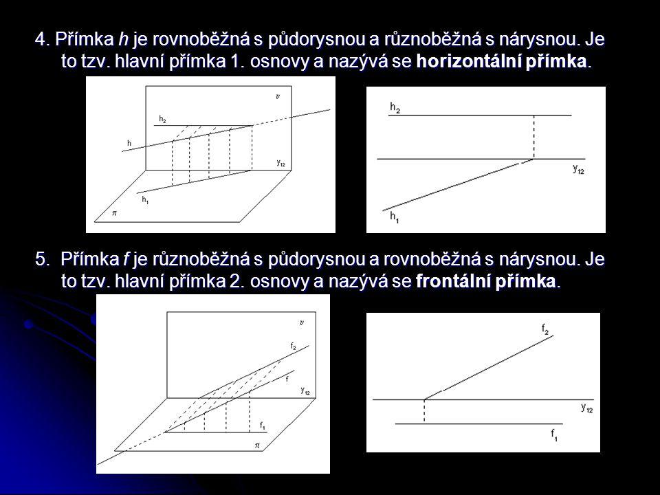 4. Přímka h je rovnoběžná s půdorysnou a různoběžná s nárysnou