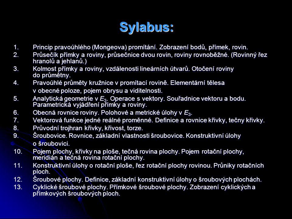 Sylabus: 1. Princip pravoúhlého (Mongeova) promítání. Zobrazení bodů, přímek, rovin.