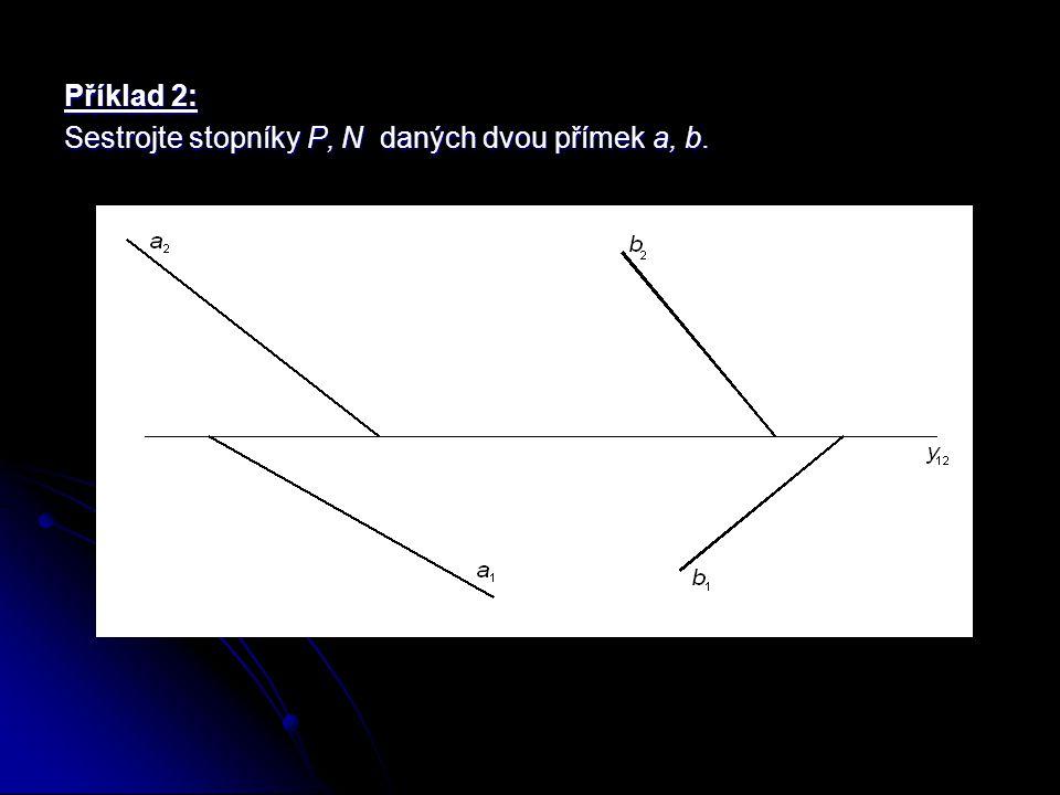 Příklad 2: Sestrojte stopníky P, N daných dvou přímek a, b.
