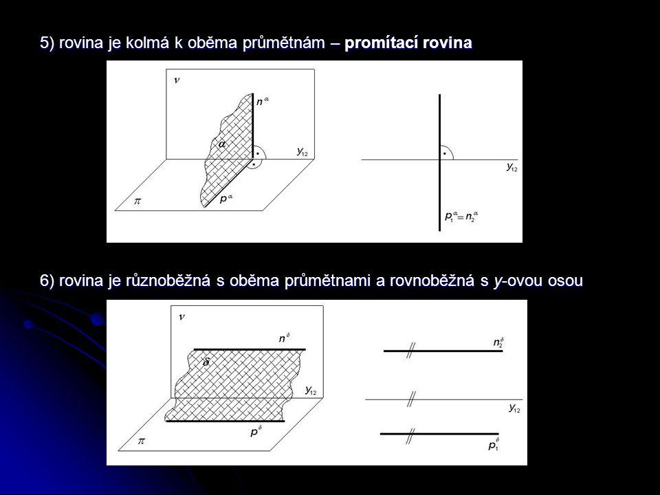 5) rovina je kolmá k oběma průmětnám – promítací rovina