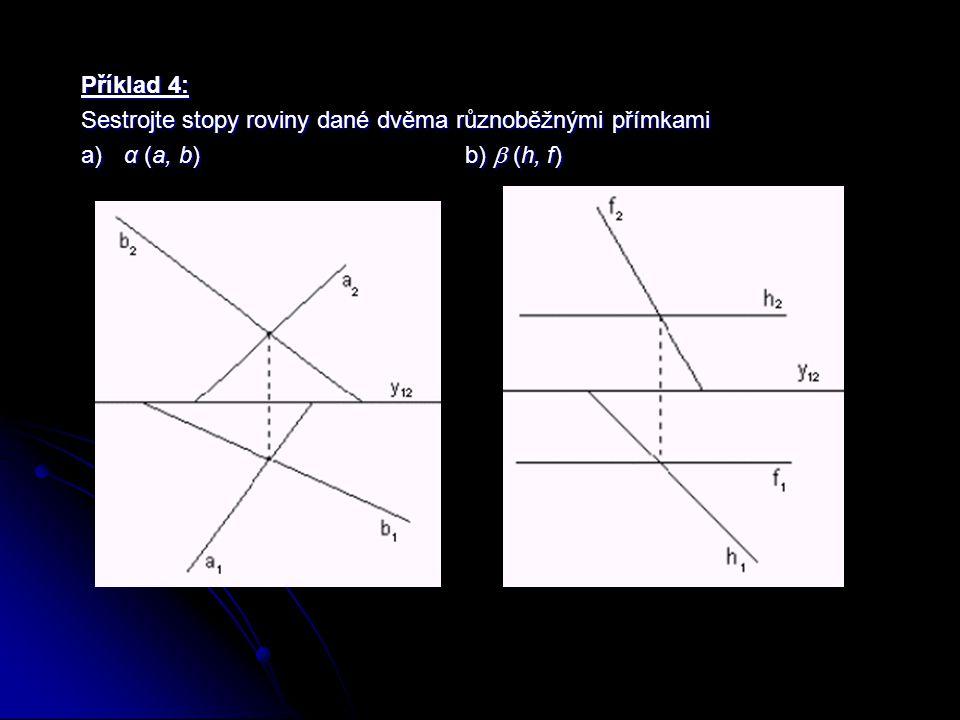 Příklad 4: Sestrojte stopy roviny dané dvěma různoběžnými přímkami a) α (a, b) b)  (h, f)