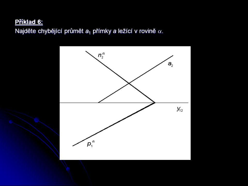 Příklad 6: Najděte chybějící průmět a1 přímky a ležící v rovině .