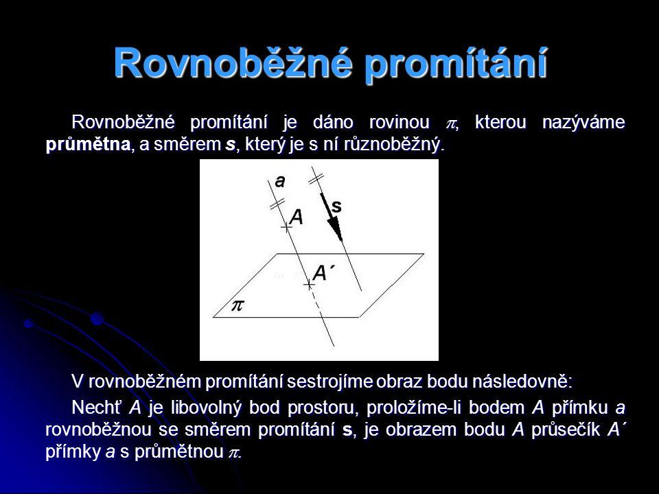 Rovnoběžné promítání Rovnoběžné promítání je dáno rovinou , kterou nazýváme průmětna, a směrem s, který je s ní různoběžný.