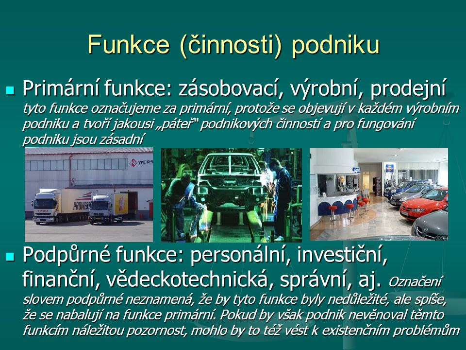 Funkce (činnosti) podniku