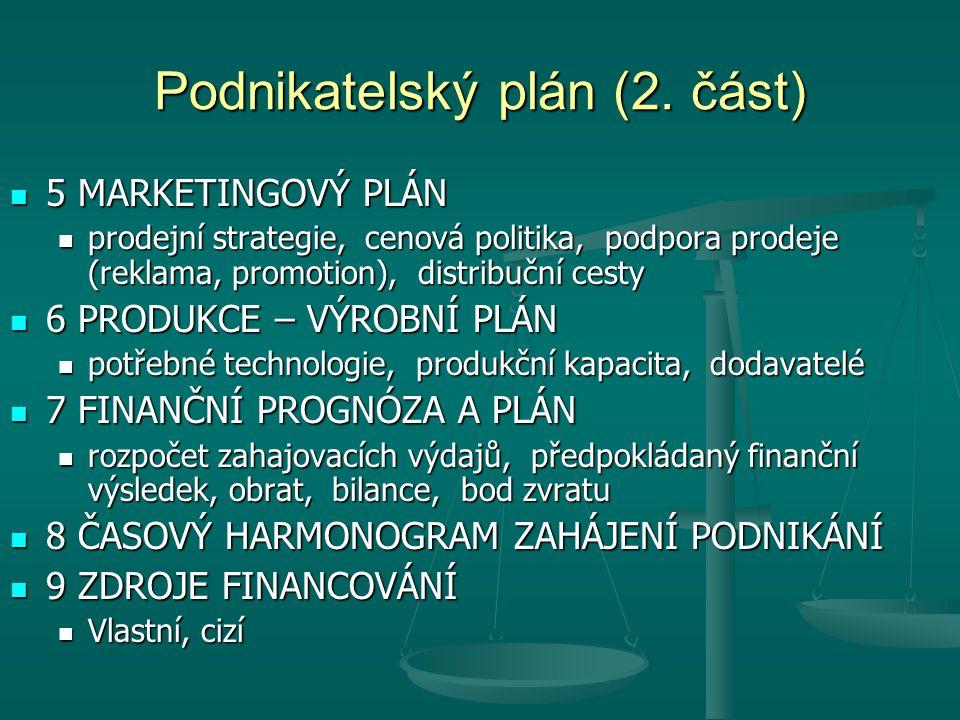 Podnikatelský plán (2. část)