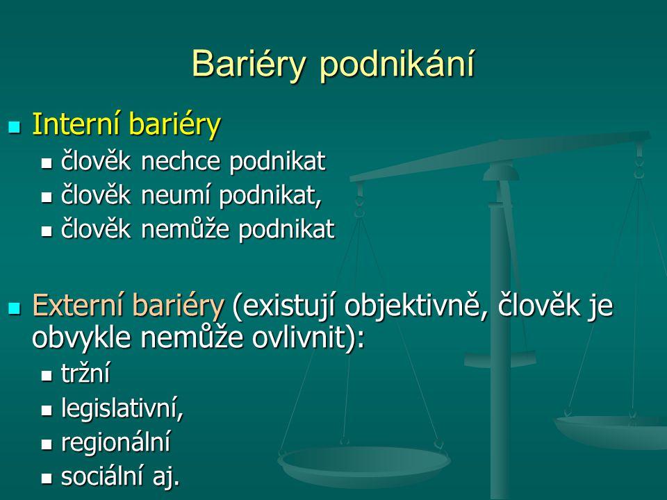 Bariéry podnikání Interní bariéry
