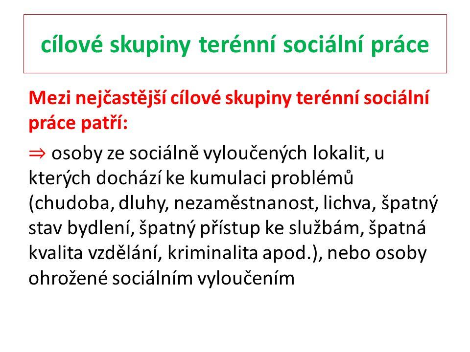 cílové skupiny terénní sociální práce