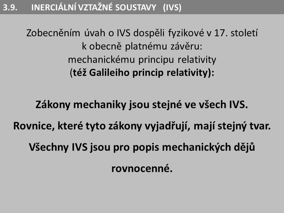 Zákony mechaniky jsou stejné ve všech IVS.