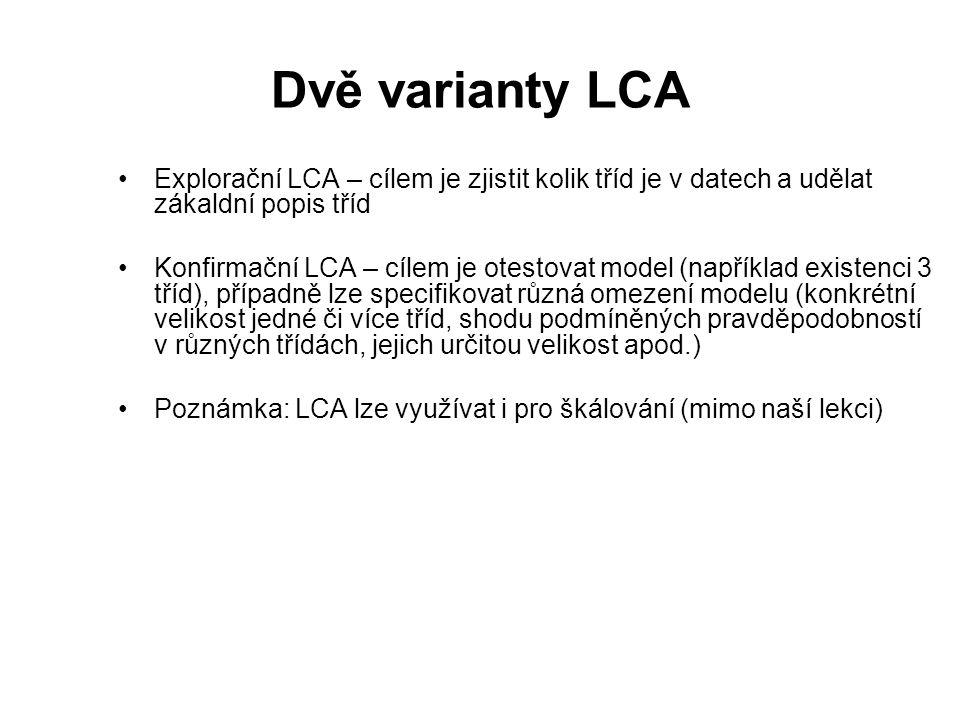 Dvě varianty LCA Explorační LCA – cílem je zjistit kolik tříd je v datech a udělat zákaldní popis tříd.