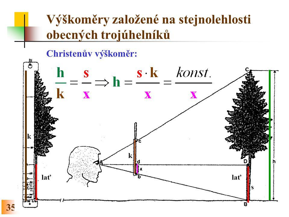 Výškoměry založené na stejnolehlosti obecných trojúhelníků