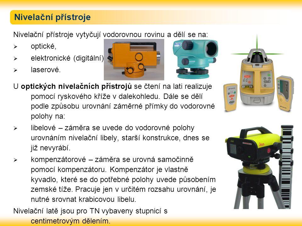 Nivelační přístroje Nivelační přístroje vytyčují vodorovnou rovinu a dělí se na: optické, elektronické (digitální),