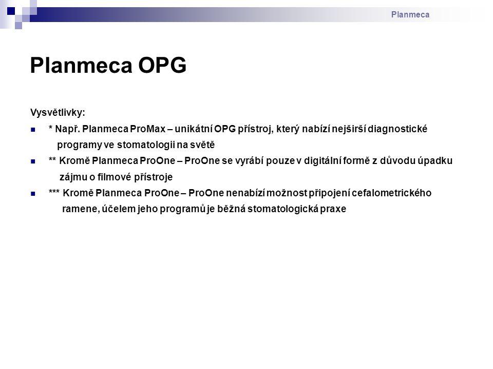 Planmeca OPG Vysvětlivky:
