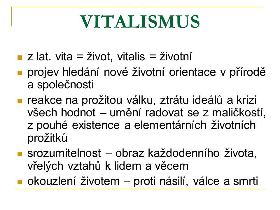 VITALISMUS z lat. vita = život, vitalis = životní