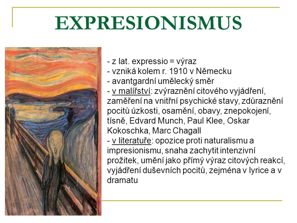 EXPRESIONISMUS z lat. expressio = výraz vzniká kolem r. 1910 v Německu
