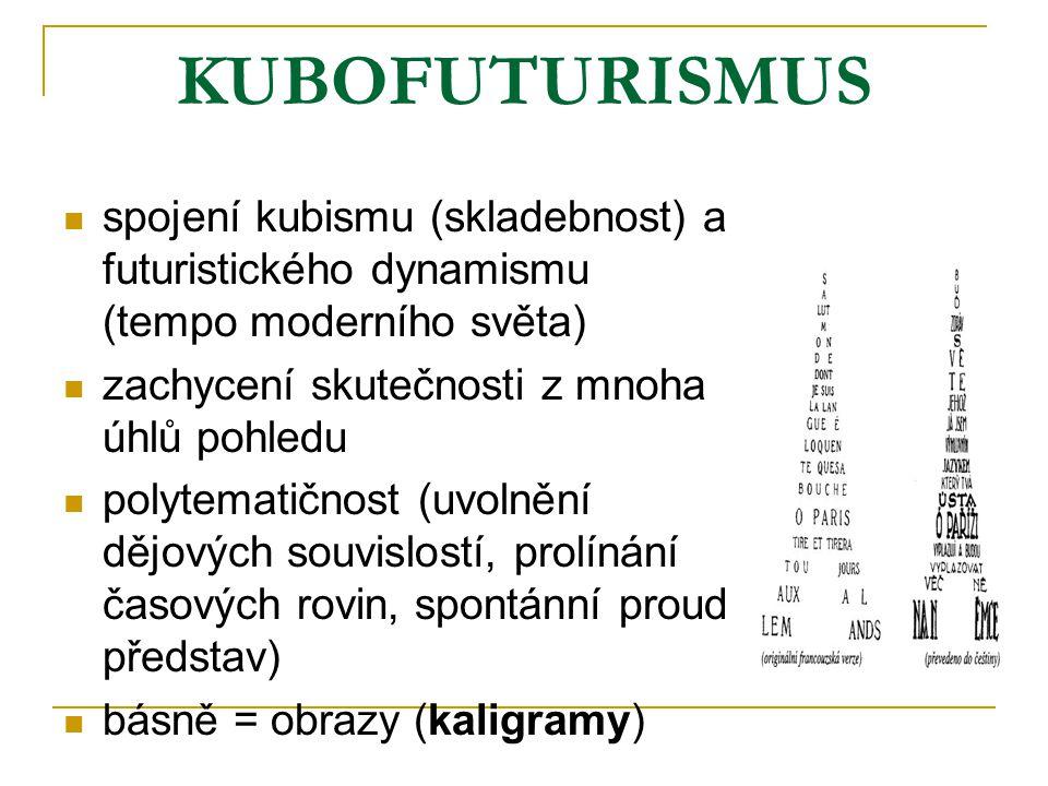 KUBOFUTURISMUS spojení kubismu (skladebnost) a futuristického dynamismu (tempo moderního světa) zachycení skutečnosti z mnoha úhlů pohledu.