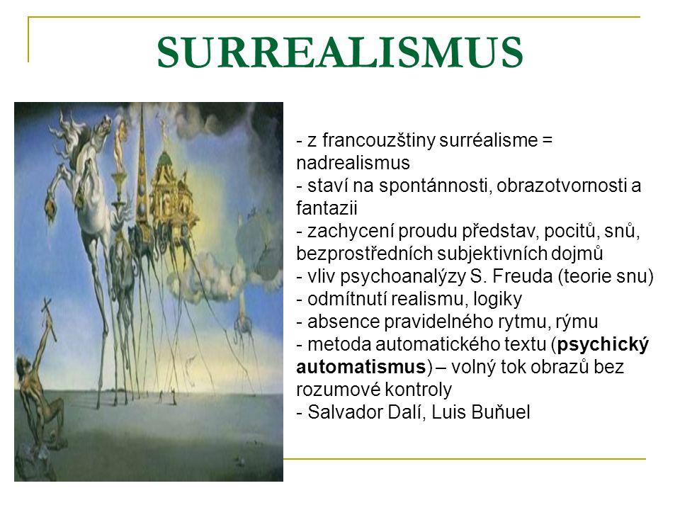 SURREALISMUS z francouzštiny surréalisme = nadrealismus
