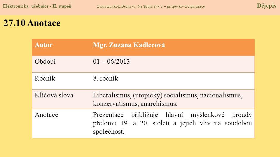 27.10 Anotace Autor Mgr. Zuzana Kadlecová Období 01 – 06/2013 Ročník