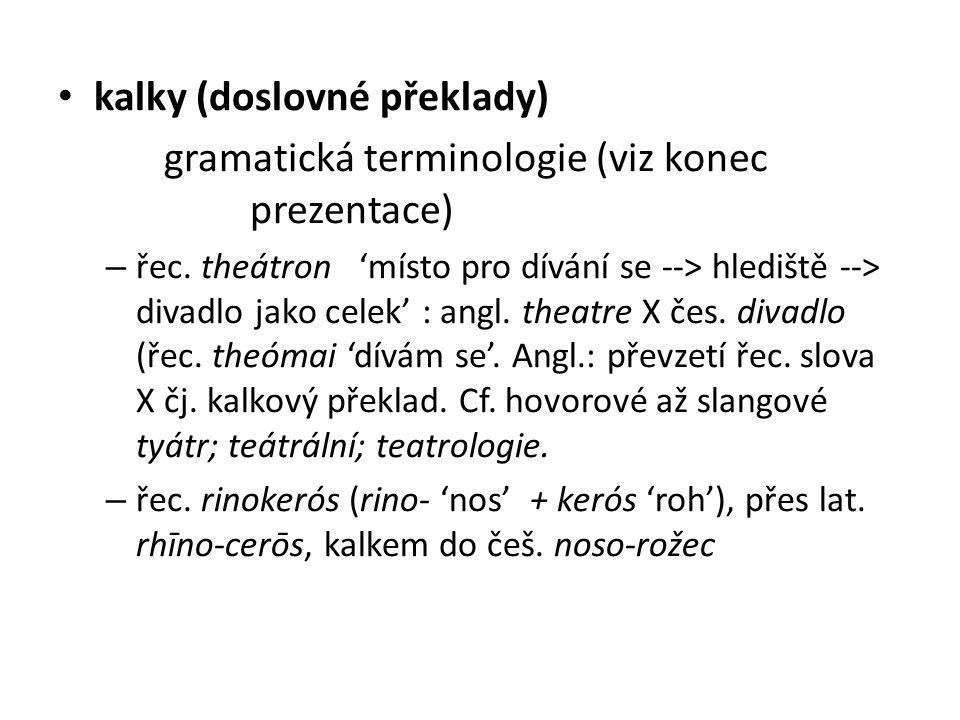kalky (doslovné překlady)