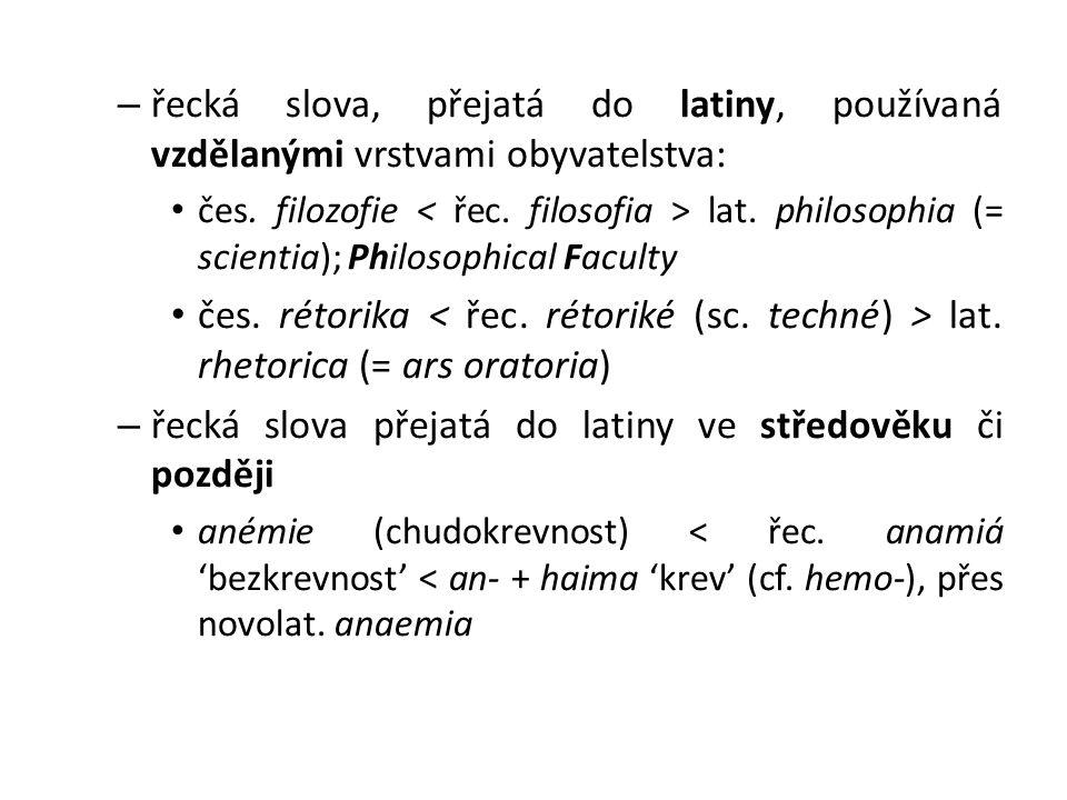 řecká slova přejatá do latiny ve středověku či později