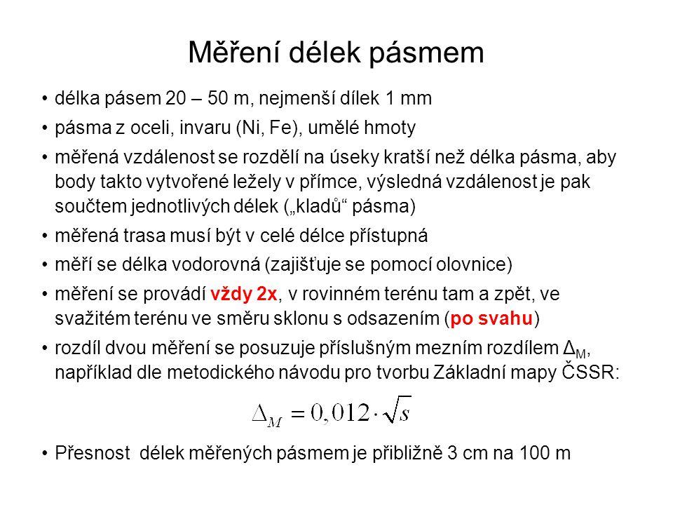 Měření délek pásmem délka pásem 20 – 50 m, nejmenší dílek 1 mm