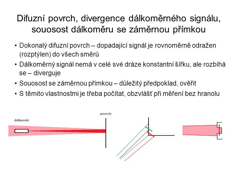 Difuzní povrch, divergence dálkoměrného signálu, souosost dálkoměru se záměrnou přímkou