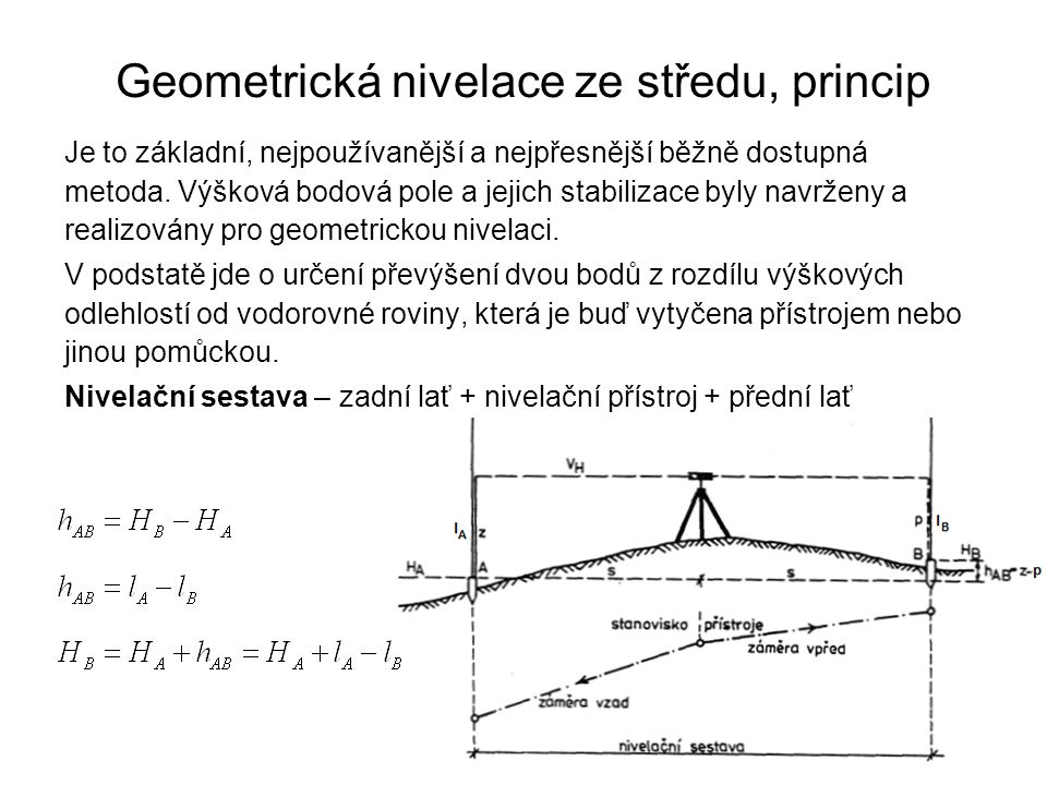Geometrická nivelace ze středu, princip