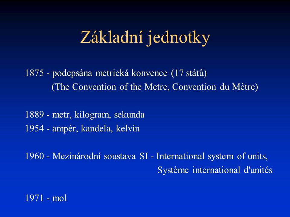 Základní jednotky 1875 - podepsána metrická konvence (17 států)