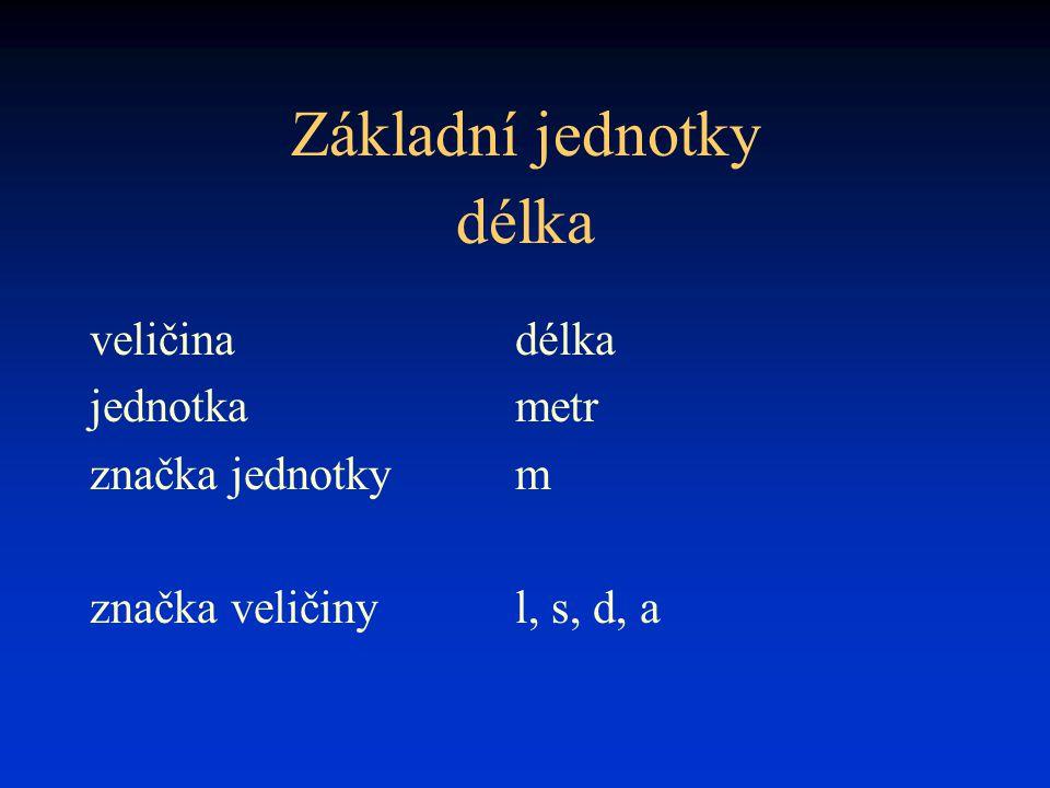 Základní jednotky délka veličina délka jednotka metr značka jednotky m