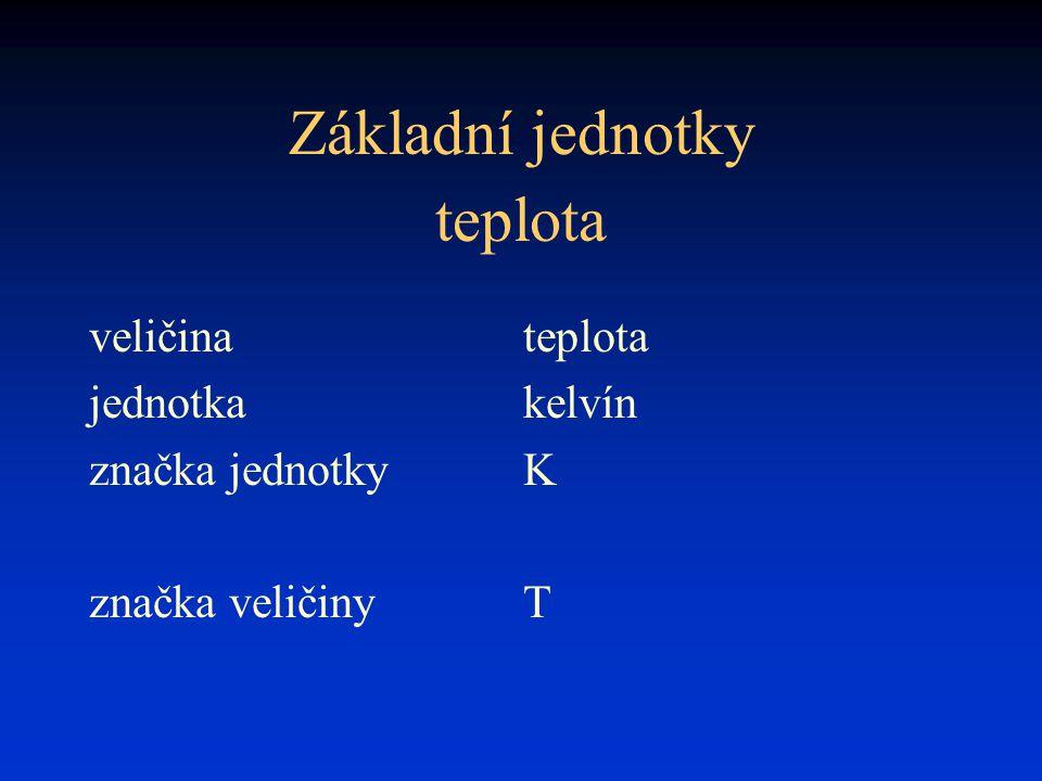 Základní jednotky teplota veličina teplota jednotka kelvín