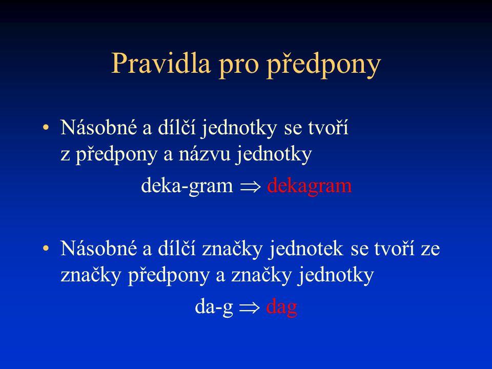 Pravidla pro předpony Násobné a dílčí jednotky se tvoří z předpony a názvu jednotky. deka-gram  dekagram.