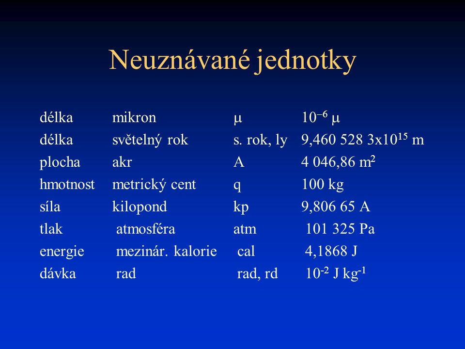 Neuznávané jednotky délka mikron m 10-6 m