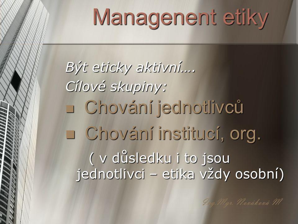 Managenent etiky Chování institucí, org. Chování jednotlivců