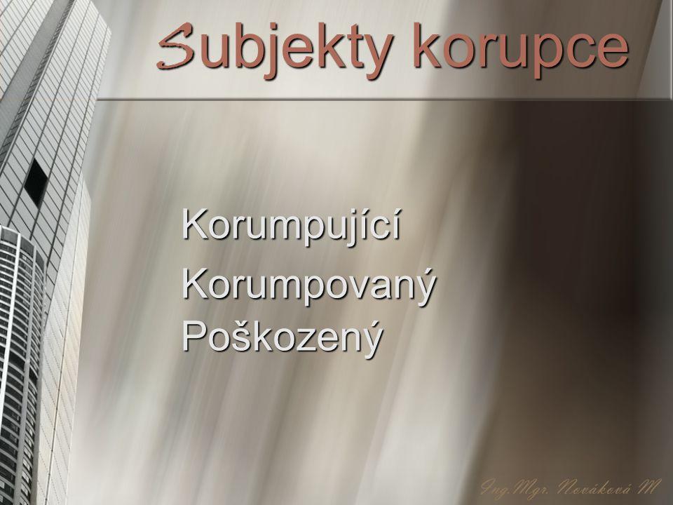 Subjekty korupce Korumpující Korumpovaný Poškozený Ing.Mgr. Nováková M