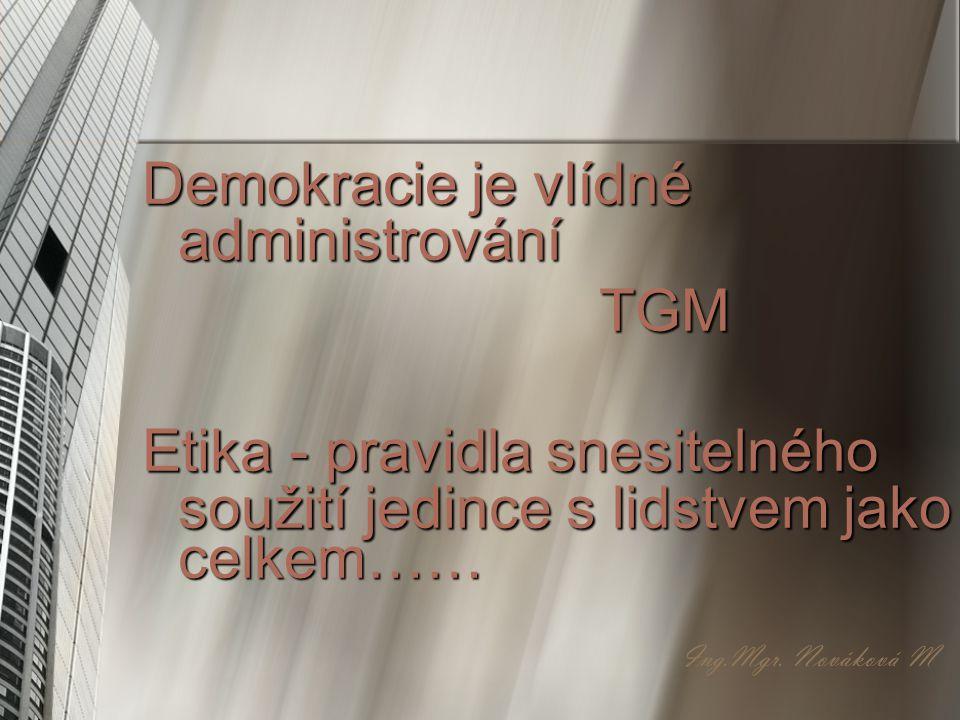Demokracie je vlídné administrování TGM