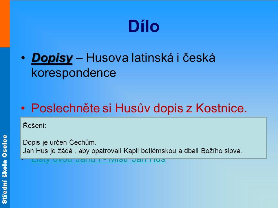 Dílo Dopisy – Husova latinská i česká korespondence