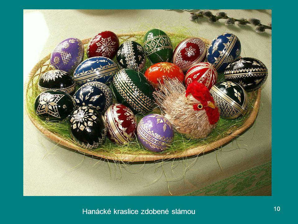 Hanácké kraslice zdobené slámou