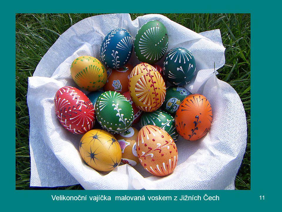 Velikonoční vajíčka malovaná voskem z Jižních Čech