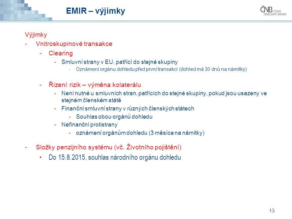 EMIR – výjimky Do 15.8.2015, souhlas národního orgánu dohledu Výjimky