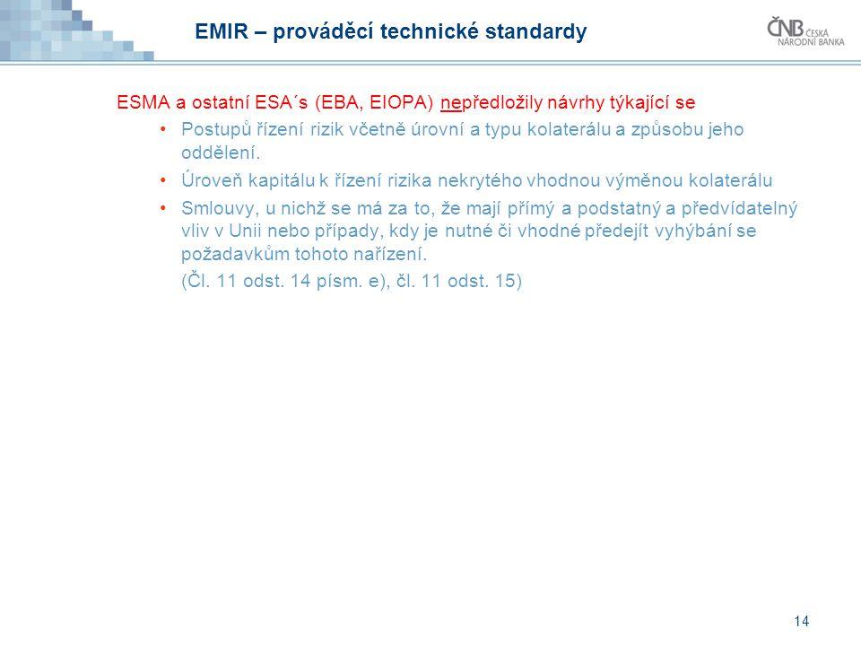 EMIR – prováděcí technické standardy