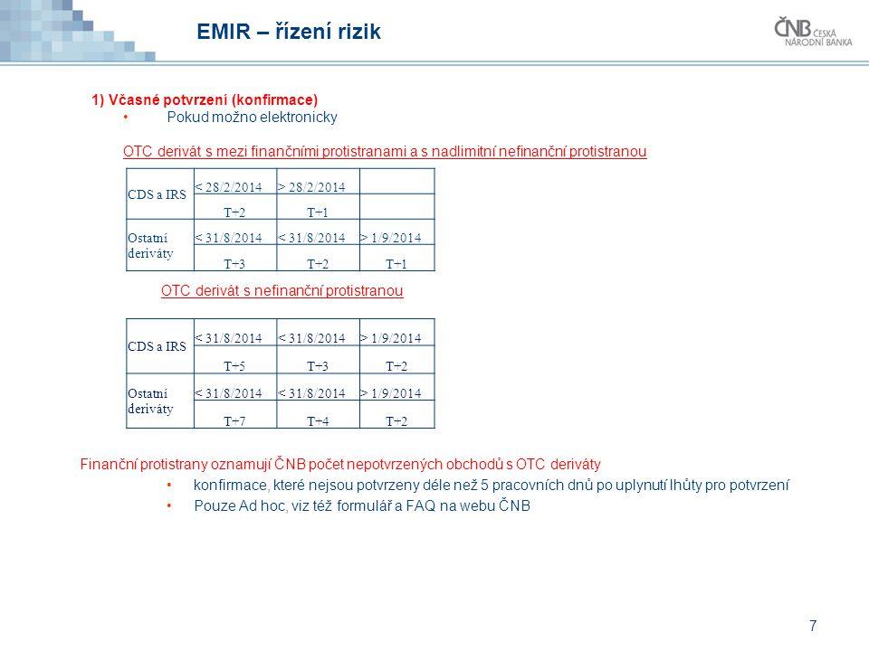 EMIR – řízení rizik 1) Včasné potvrzení (konfirmace)
