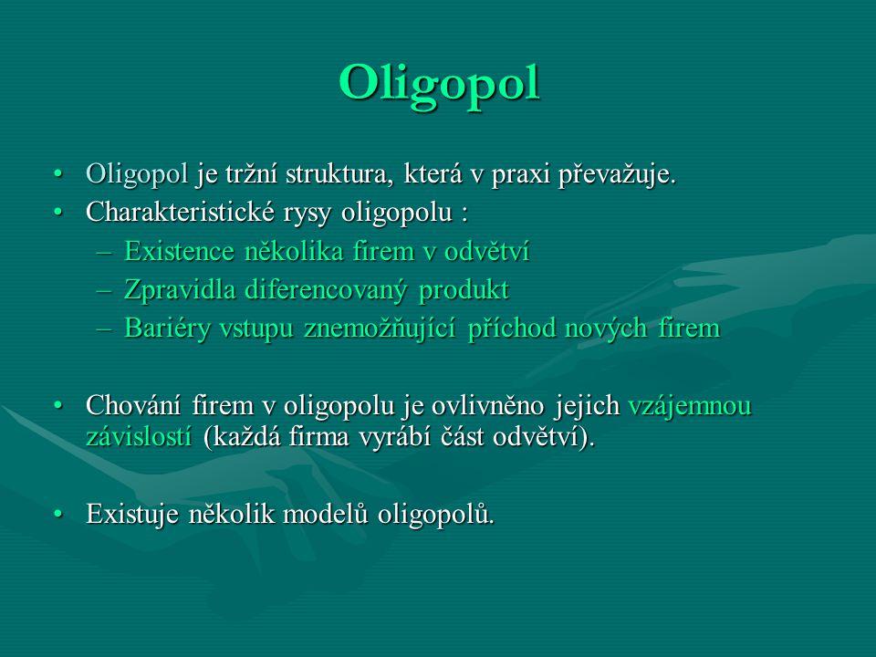Oligopol Oligopol je tržní struktura, která v praxi převažuje.