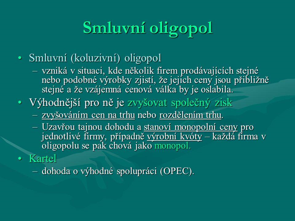 Smluvní oligopol Smluvní (koluzivní) oligopol